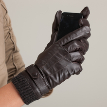 цена на Free Shipping High Quality Fashion Men Gloves Leather Long Fleece Lined Leather Gloves With 3 Lines Autumn Warm Driving Gloves