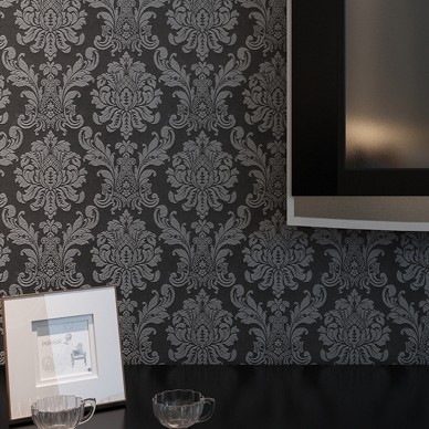Victorian Modern Damask Wallpaper Roll Black Brown