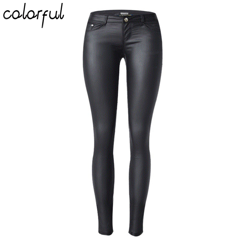 COLORFUL The low elastic coating of PU leather denim pants feet wet mold all-match foreign funds low waist elastic W17054 shakespeare w the merchant of venice книга для чтения