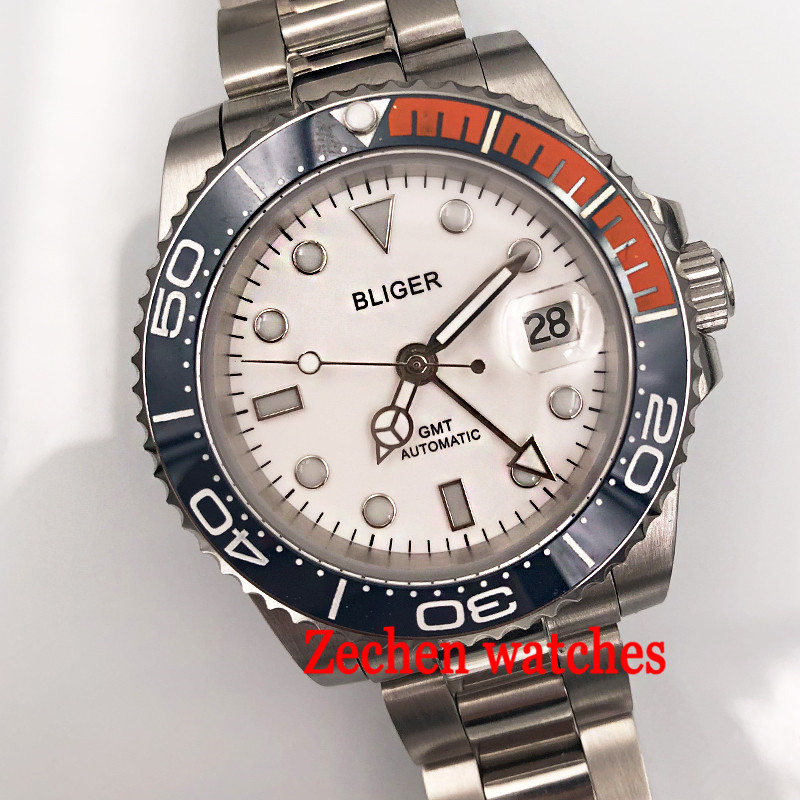 40mm Bliger White Dial Luminous hands mens watch Sapphire Automatic Steel Men's Casual Wrist Watch цена и фото