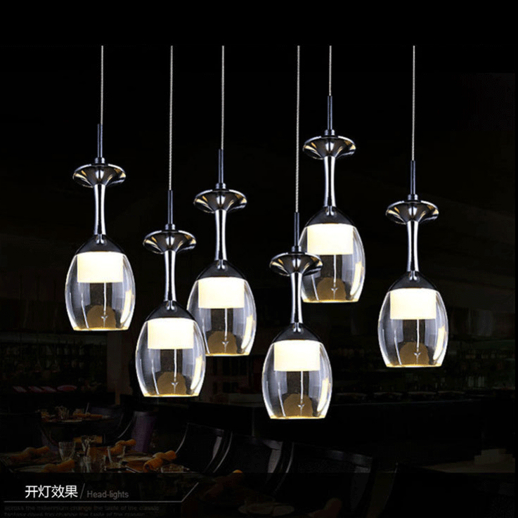 High quality  LED Cup Chandelier Light Wineglass Pendant Lamp for Living Room Bar Saloon Dining Room
