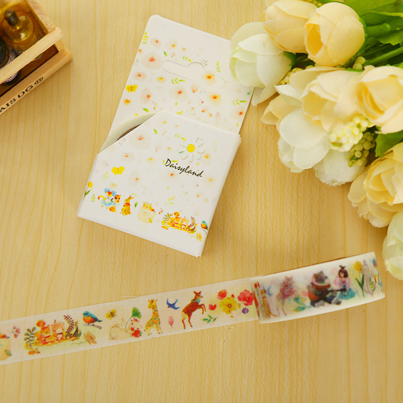 1.5cm*7m Fairy tale animal washi tape DIY decorative scrapbook planner masking tape adhesive tape stationery school supplies 3cm 7m raining butterfly washi tape diy decorative scrapbook planner masking tape office adhesive tape stationery