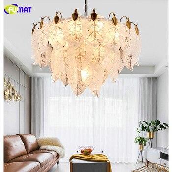 FUMAT Nordic styl pozostawia Art Design K9 kryształ ze stali nierdzewnej wiszące oświetlenie LED luksusowe nabłyszczania szkło kryształowe lampa dla Foyer