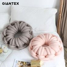 GIANTEX Sofa Decorative Pillows Throw Knot Ball Cushion Oblong Pillow Chair Pillow Back Cushion Home Decor cojines coussin noeud