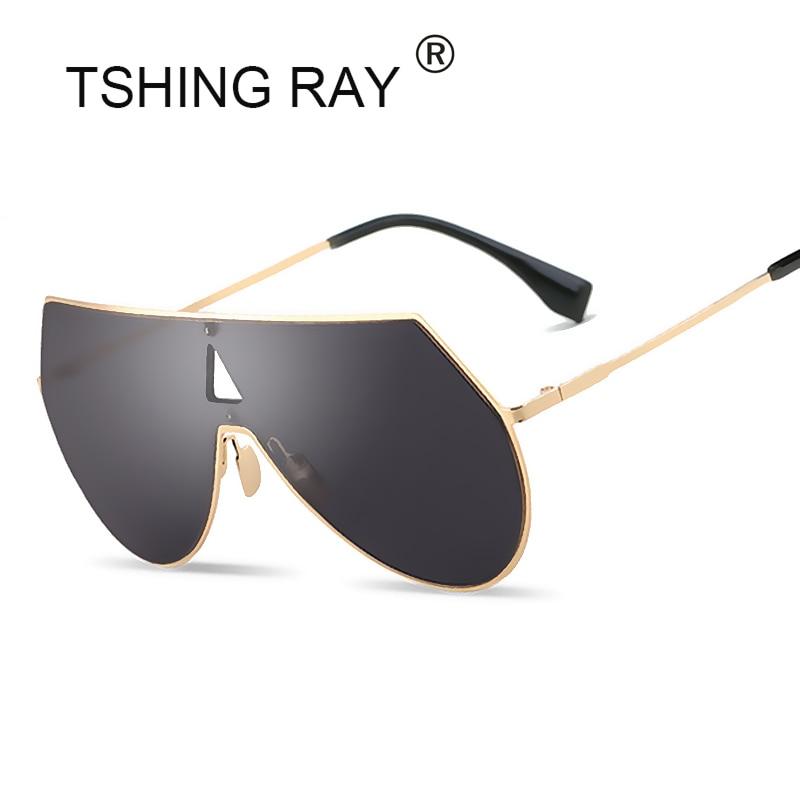 TSHING RAY Fashion Shield Oversized Aviation Sunglasses Women Men Unique One Piece Lens Coating Mirror Pilot Sun Glasses
