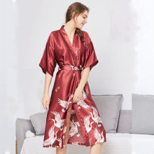 Sexy Mousse Women Robes Sexy Home dressing gown four seasons half sleeve red  black gray Knee-Length girdle printing white crane 1651dc2286cf