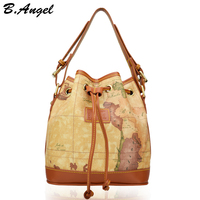 High Quality World Map Women Bag Fashion Women Messenger Bags Special Bucket Bag Casual Handbag