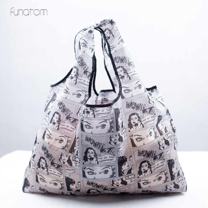 Reusable Shopping Bags Lady Foldable Oxford Cloth Reusable Fruit Grocery Pouch Recycle Organization Bag