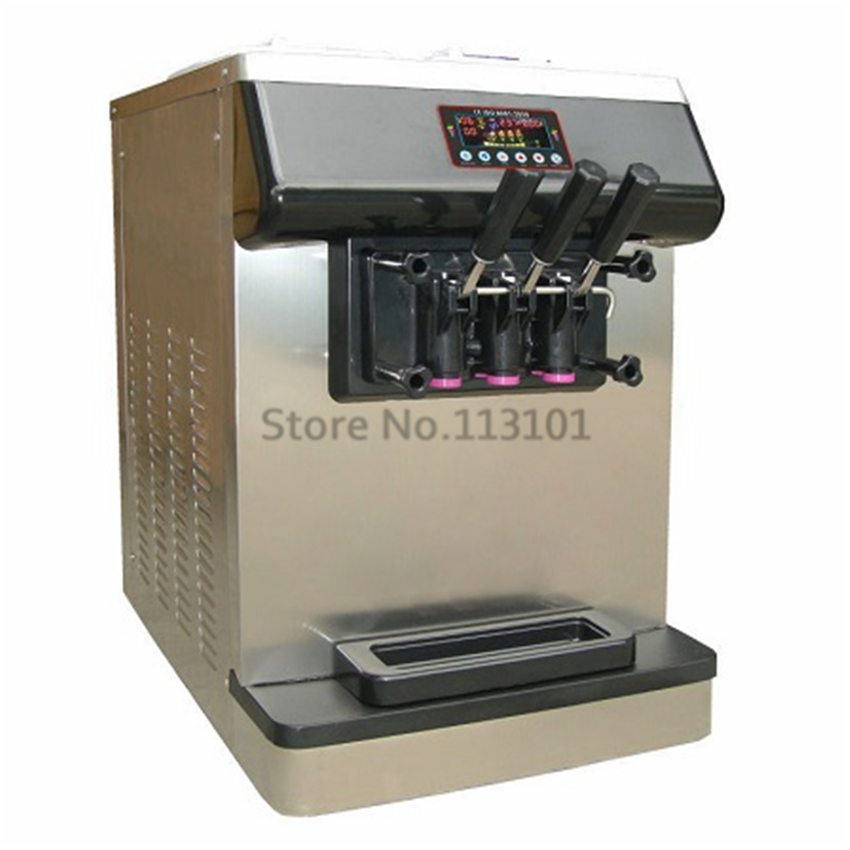 Ice Cream Machine Sundae Maker Intelligent Control 3 Heads Stainless Steel Countertop Soft Serve Machine with Cone Counter