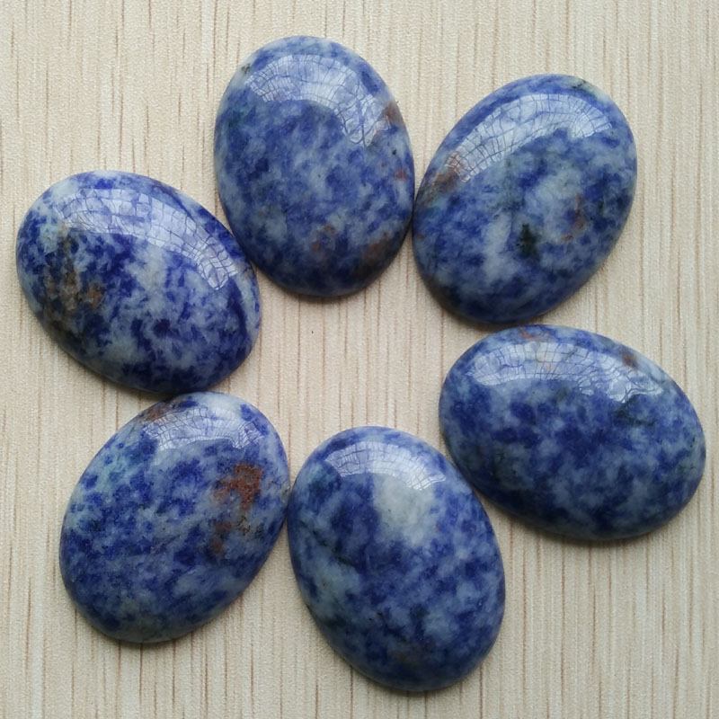 Wholesale 6pcs/lot good quality natural sodalite Oval CAB CABOCHON 30x40mm charms stone beads for Diy jewelry making free