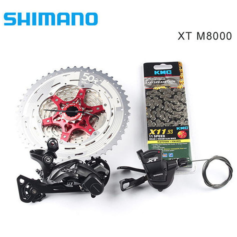 Shimano XT M8000 4pcsBike Bicycle Mtb 11 Speed Kit Groupset RD-M8000 Shifter with SunRace Cassette K7 KMC Chain 11-46T 11-50T shimano xt m8000 left