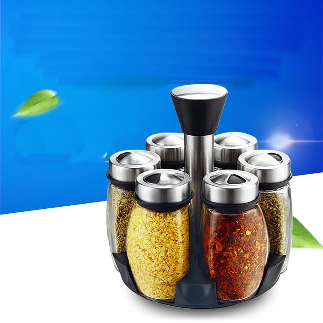 Fashion rotating cruet kitchen supplies Creative glass Storage Bottles Jars