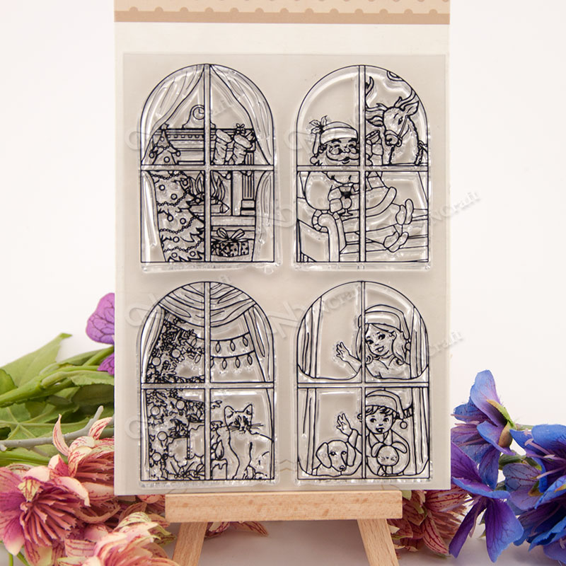 Christmas window Clear Silicone Stamp/Seal for DIY scrapbooking/photo album Decorative Z760 lovely animals and ballon design transparent clear silicone stamp for diy scrapbooking photo album clear stamp cl 278