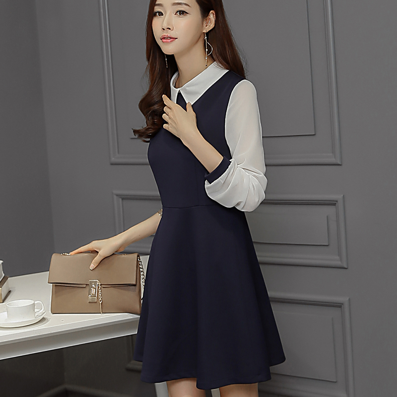 2016 Spring Women\'s Medium-long Blue Dress White Collar Cute Peter Pan  Collar Plus Size Slim long-sleeve Dress