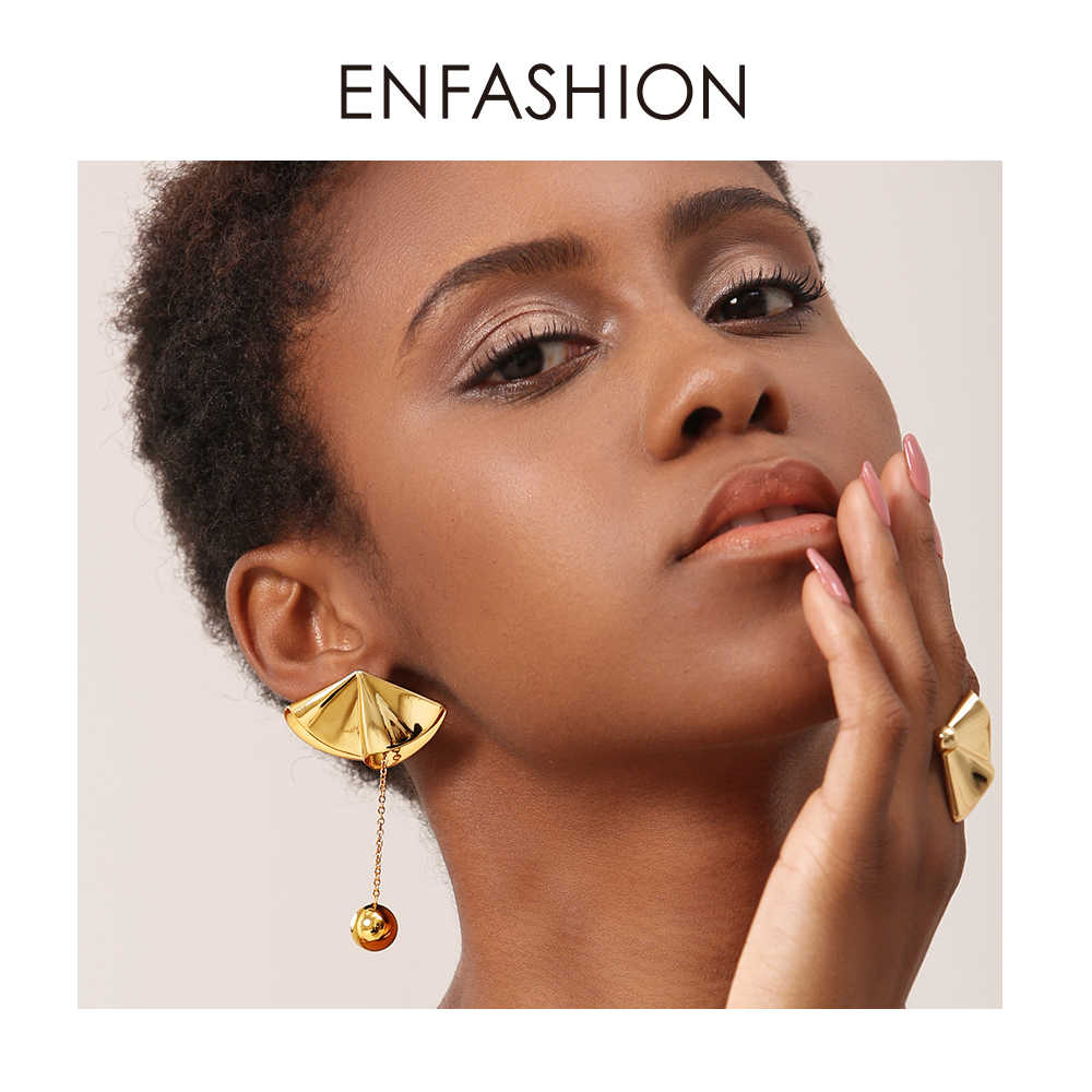 Enfashion Drape Drop Earrings For Women Gold Color Long Brass Big Ball Earings Statement Fashion Jewelry Pendientes EF181073