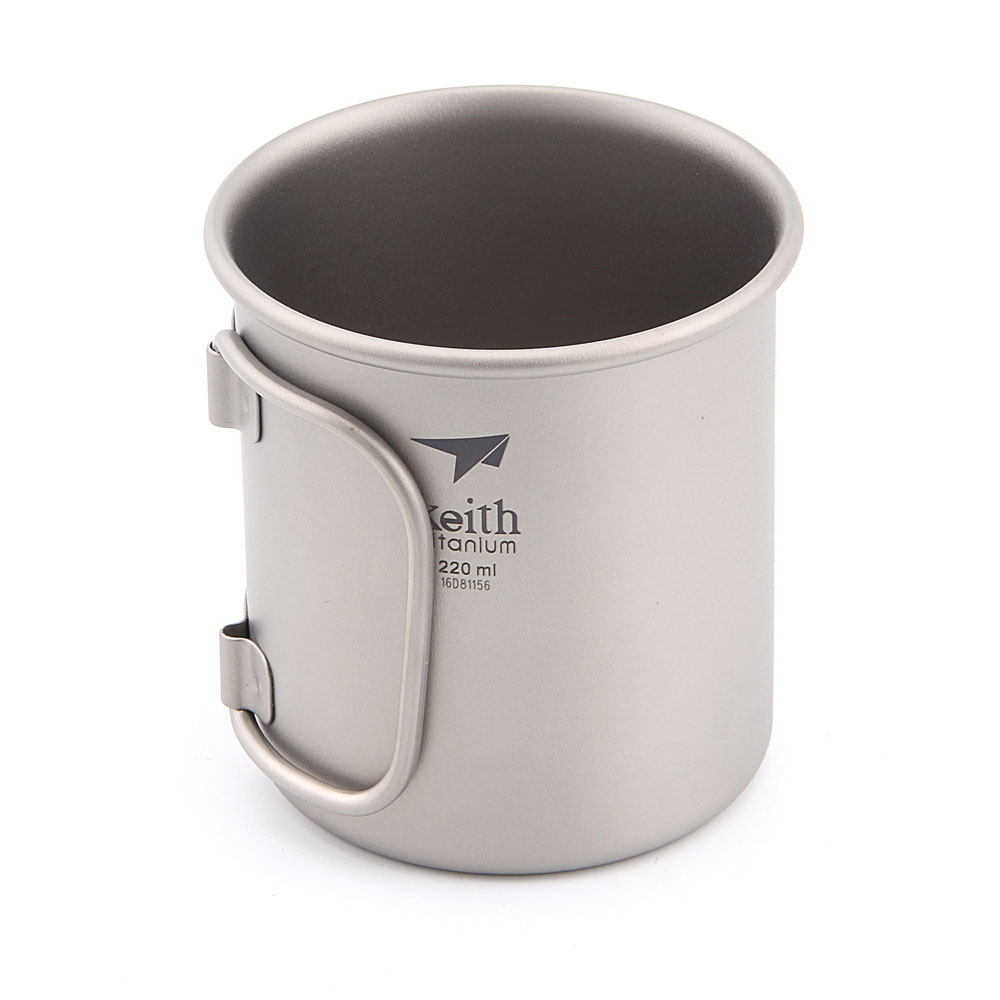 Keith Ti3200 Titanium Water Cup Mug Foldable Handle Picnic Hiking Outdoor Camping Cookware Pot 220ml keith ks813 double wall titanium water cup mug silver grey 220ml