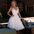 Ретро Белое Кружево Короткие Свадебные Платья 2016 Sexy Beach Колен Свадебные Платья Невесты Платье На Заказ Платье De Noiva Vintage