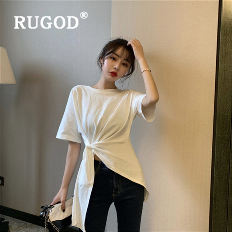 RUGOD bow lace tshirt women new arrival Oneck casual high waist slim t shirt cotton fashion poleras mujer image