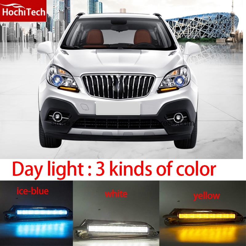 High quality 3 colors white yellow ice blue LED Car DRL Daytime running lights fog light for Buick encore 2013 2014 2015 high quality h3 led 20w led projector high power white car auto drl daytime running lights headlight fog lamp bulb dc12v