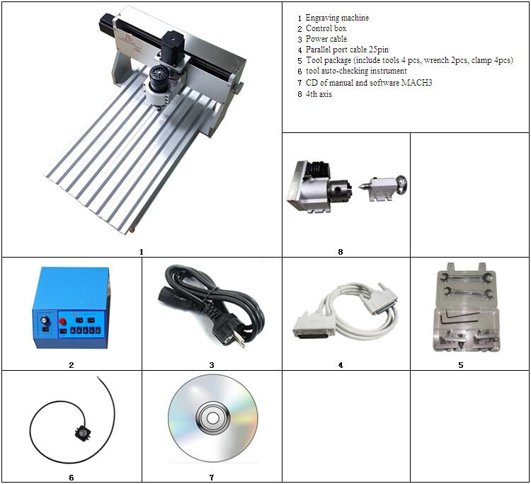 4axis 3020 CNC cutting machine, 500W CNC 3020Z-D500 CNC router Engraving Drilling Milling Machine  cnc router 3020z d 300w spindle 3 or 4axis cnc cutting machine