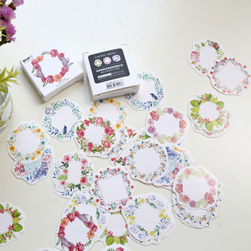 45pcs / Batch Flower Ring Box Sealed Special Stickers Diy Hand Gift Bag Kawaii Decorative Tape