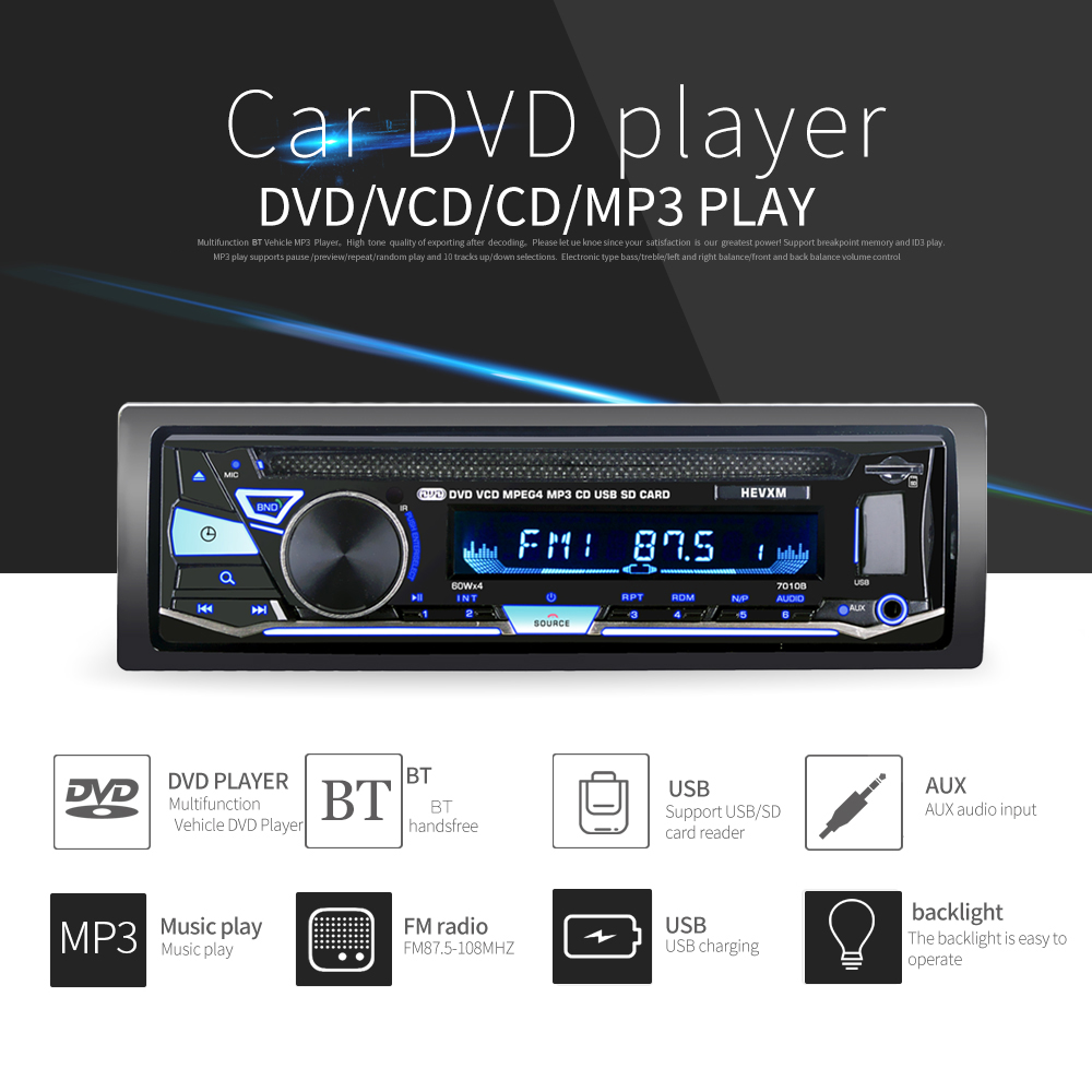 Car DVD Cd-Player Autoradio Remote-Control Stereo MP3 12V with BT 7010b/Vehicle/Mp3/..
