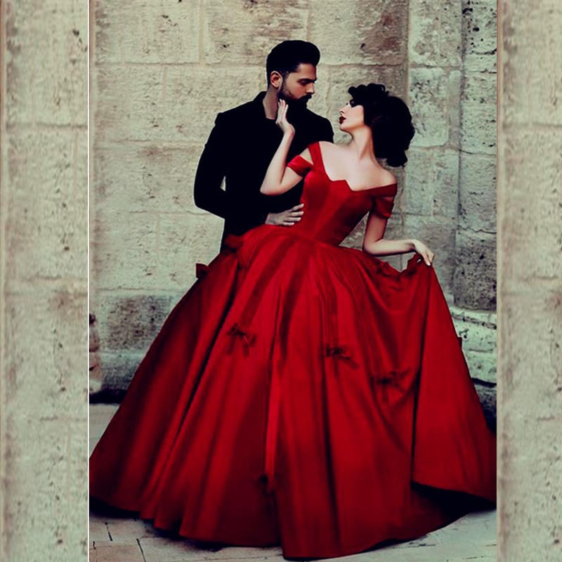 Chic Dark Red Ball Gowns Long Saudi Arabia Prom Dresses With Bows ...