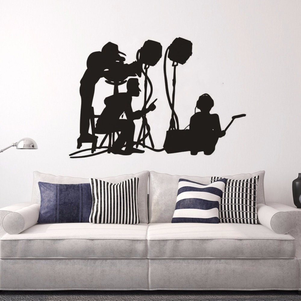 Removable Film Make Teams Wall Sticker Movie Maker Director Silhouette Wall Art Decals Cinema Film Making Decorations AZ354 image