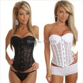 Hot bridal corset wedding Sexy Satin Lace Corset shaper 878 Strapless Bustier+G-string Outwear Overbust Corset Top