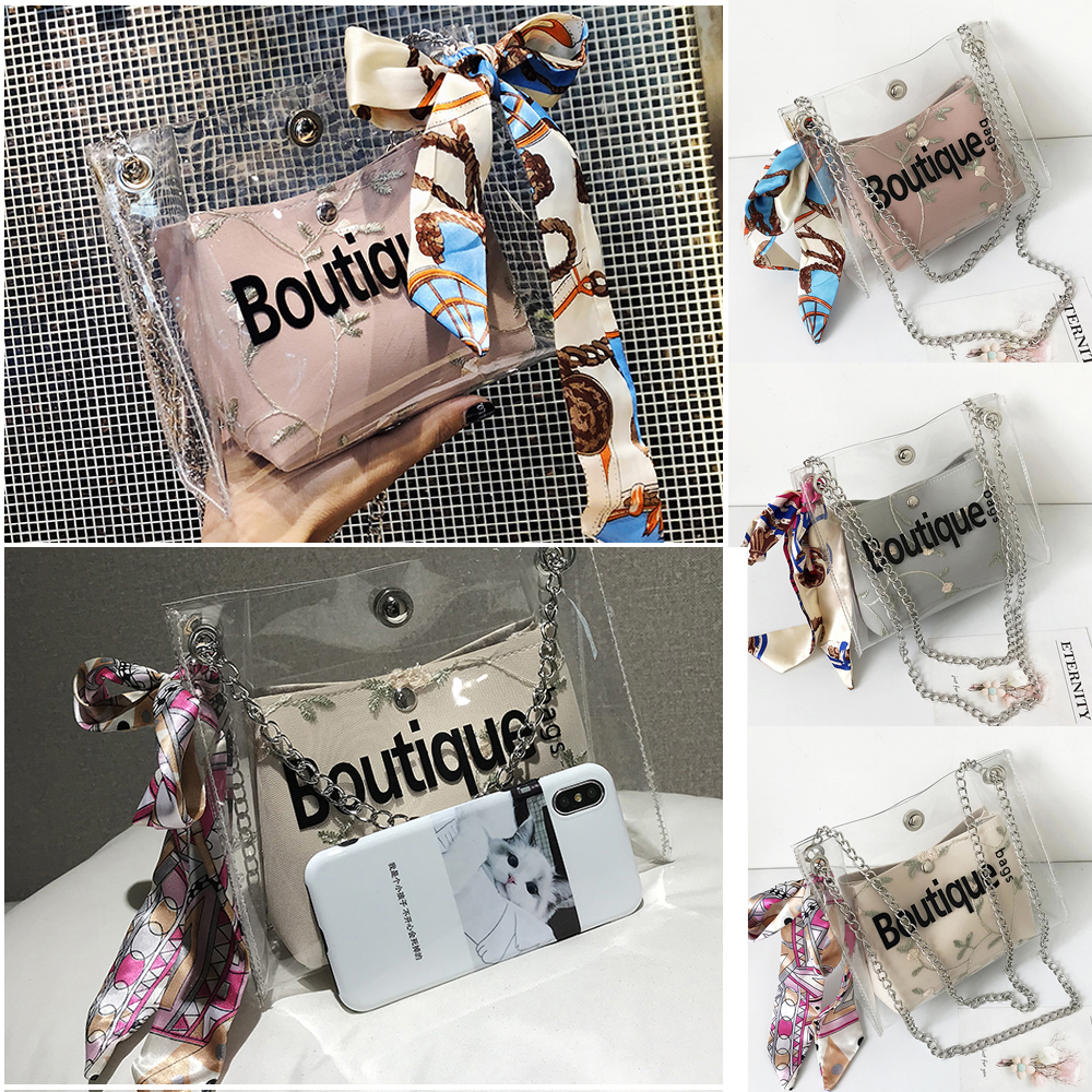 Women Summer Fashion PVC Transparent Clear Bow Chains Shoulder Bag Tote Jelly Candy Summer Handbag