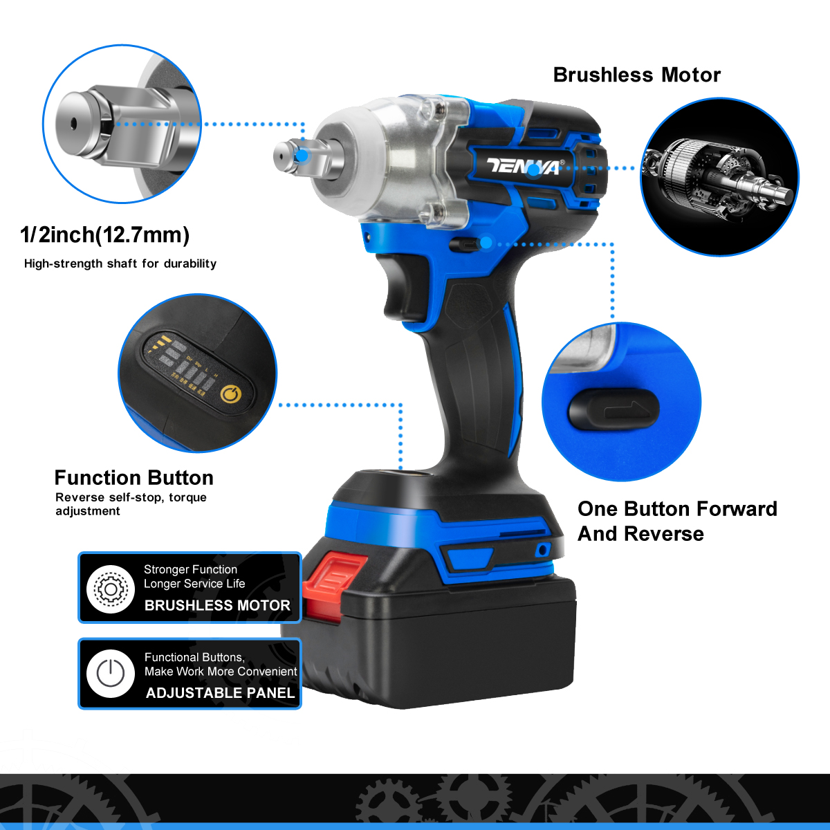 Image 3 - TENWA Brushless Electric Wrench 21V Impact Wrench Socket   4000mAh Li Battery Hand Drill Installation Power Tools-in Electric Wrenches from Tools on