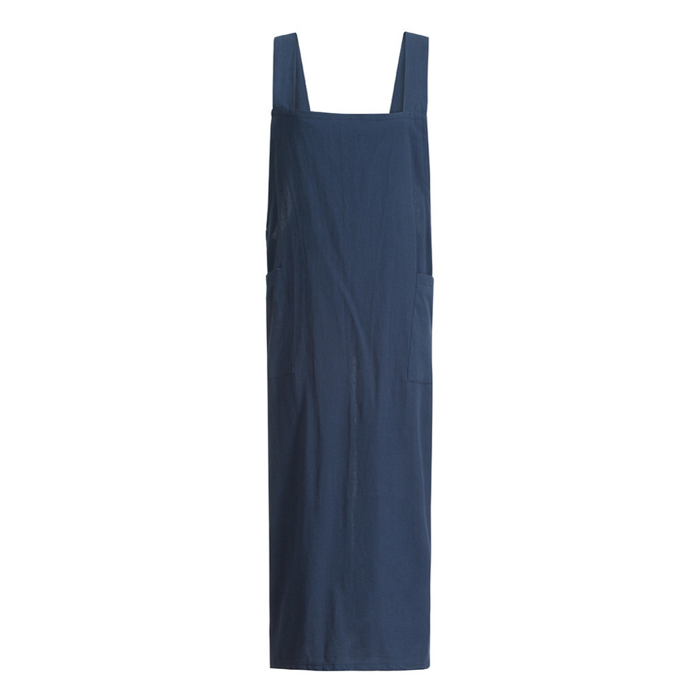 Women Cotton Linen Pinafore Square Cross Apron Garden Work Pinafore Dress X