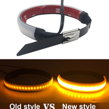 2pc Universal Motorcycle Turn Signal Light 12V LED Fork Strip Flashing Amber Lamp For Honda/Harley for 45-70mm