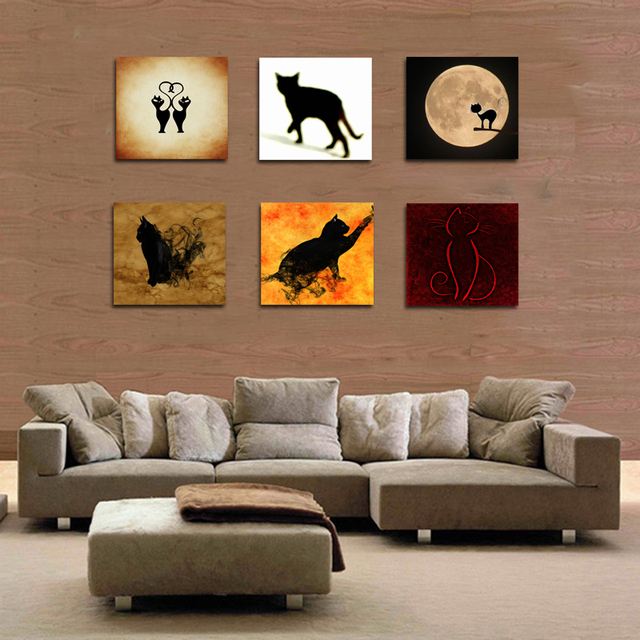 Buy 6 panel cat wall painting decoration for Cat decorations home