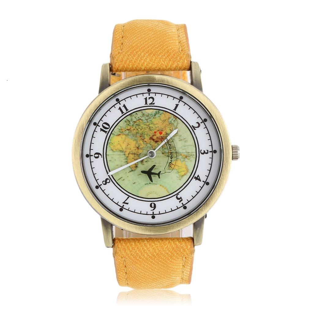 GENBOLI Unisex Golden Round Shell World Map By Plane Watch Date Quartz Denim Fabric Wristwatch Analog Mujer Relogio Feminino