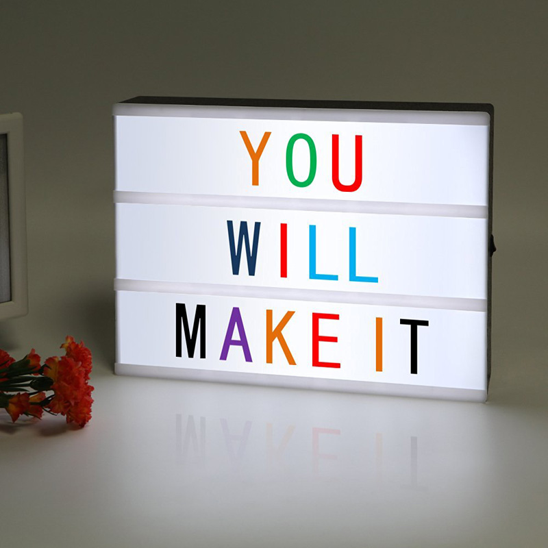 A4 LED Cinematic Light Box with Colorful Letters and LED Light ,Letter LED Light box for Home and Wedding Decor dg home диван box light