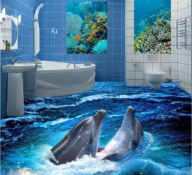 3d pvc flooring wallpaper custom waterproof self adhesion Dolphin 3 d the bathroom flooring painting 3d wall murals wallpaper