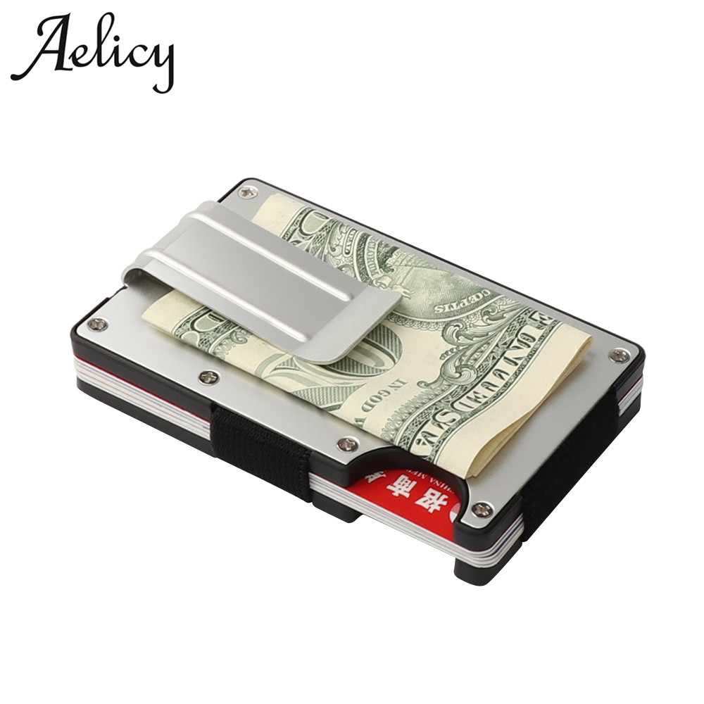 Aelicy Metal Mini Detachable Money Clip Brand Fashion Black White Credit Card ID Holder With RFID Anti-chief Wallet Men