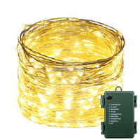 1 2 4pcs Battery Powered 30M 99FT 300LED Waterproof Warm White String Lights Silver Wire Christmas