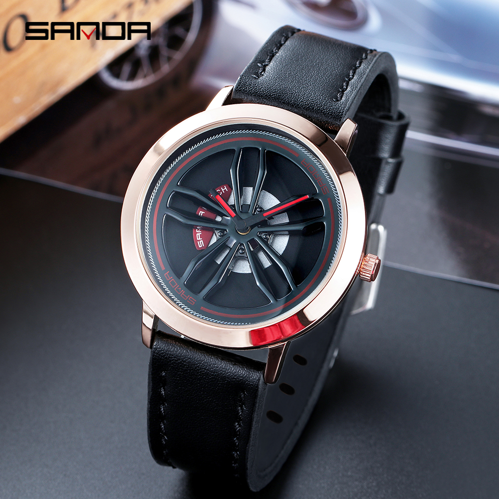 2019 Relogio Masculino 360-degree Rotating Car Wheel Dial Watch Men   Stainless Steel Case Leather Band Watch Quartz Wristwatch