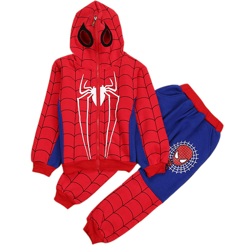 3-8Y Spiderman Baby Boys Clothing Sets Cotton Sport Suit Children Fashion Cool Spider Man Cosplay Costume Kids Tracksuit Clothes baby clothes spiderman 2016 brand summer causal kids clothes boys sport suit children clothing set toddler boys tracksuit page 3