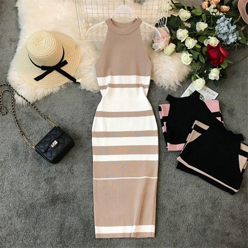Облегающее платье OCEANLOVE, трикотажное эластичное сексуальное платье на лето 2020, платье в полоску с лямкой на шее, женское облегающее винтажно...