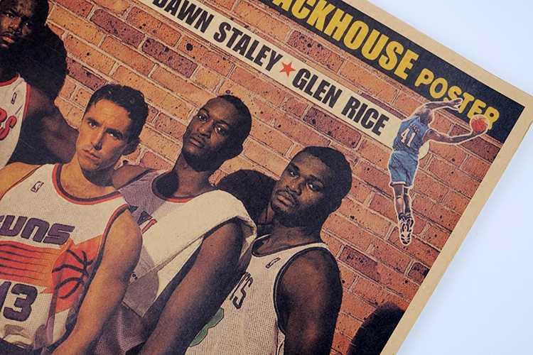 Винтажный Баскетбол NBA 1996 NBA Проект класса постеры для украшения дома детальный античный плакат настенная диаграмма Ретро Матовая крафт-бумага