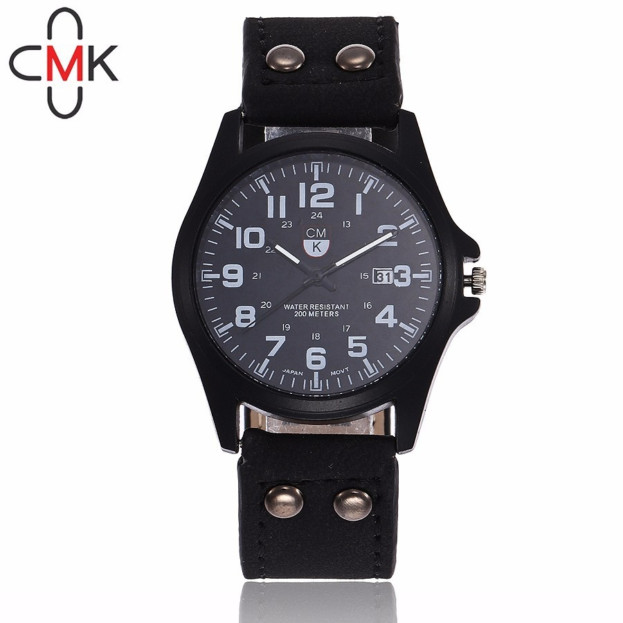 CMK Fashion Casual Mens Watches Top Brand Luxury Leather Military Quartz Watch Men Wristwatches Male Clock Relogio Masculino forsining fashion brand men simple casual automatic mechanical watches mens leather band creative wristwatches relogio masculino