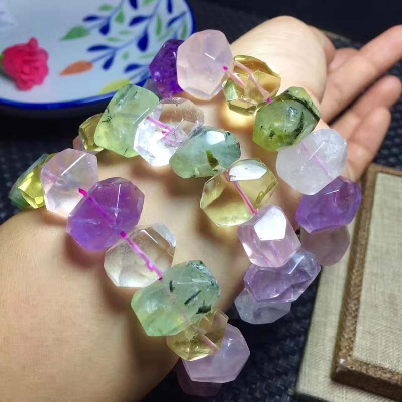 AMETHYST/ROSE quartz/prehnite/citrine/ 13*18mm  baroque faceted bracelet 7.5inch FPPJ  FPPJ