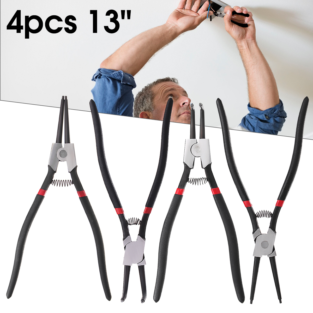 4Pcs 13inch Snap Ring Pliers Set Circlip Internal External Bent Straight Clip Two Size Hand Tool Fit For Electrician Home DIY dose of colors помада для губ sorbet 3 5 г