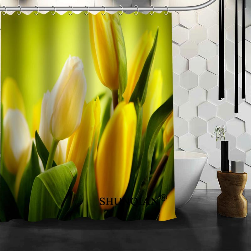 Waterproof Bathroom Curtains Modern Tulips Shower Curtain Polyester Bath Screens Customized In From Home Garden On Aliexpress
