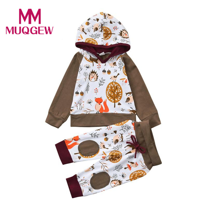 Cute Cartoon Animal Pattern Kids Clothes Sets Newborn Infant Baby Girl Boy Hoodie Sweatshirt Tops+Pants Outfits Clothes Set