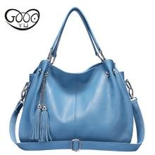 New Fashion Soft Real Genuine Leather Tassel Woman Handbag Ladies Shoulder Tote Messenger Bags Purse Satchel Women Hand Bag недорого