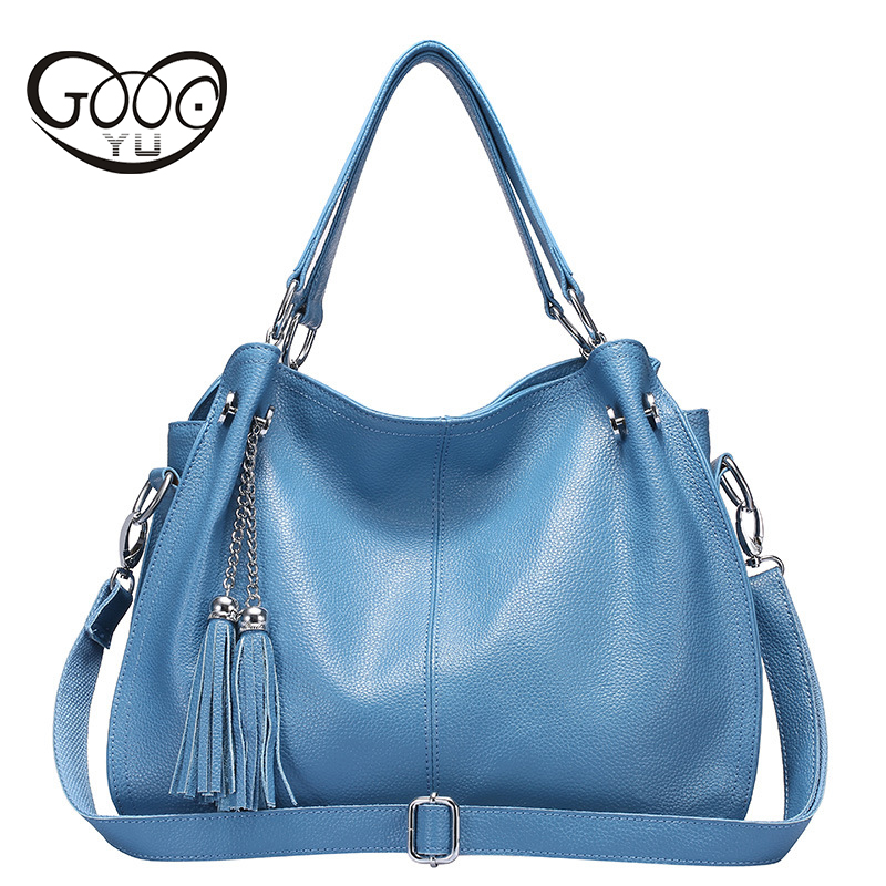New Fashion Soft Real Genuine Leather Tassel Woman Handbag Ladies Shoulder Tote Messenger Bags Purse Satchel Women Hand Bag